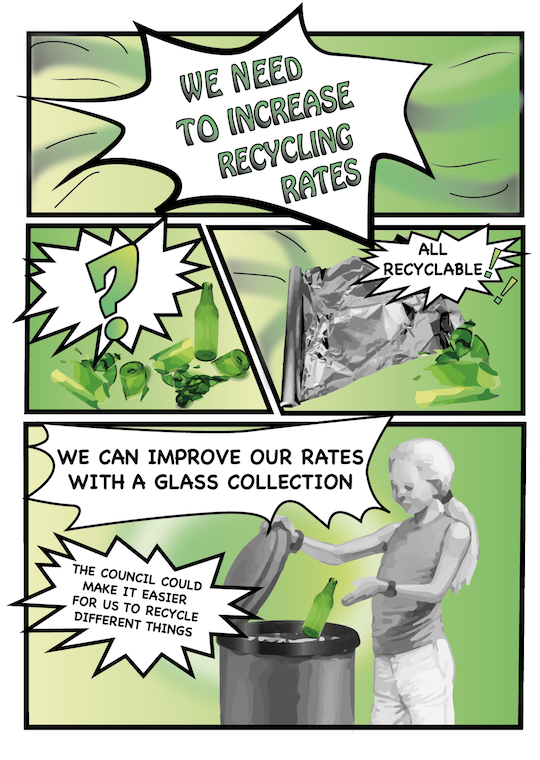 Comic strip encouraging more recycling